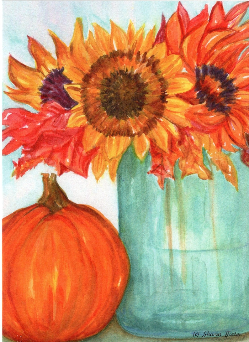 Fall sunflowers mason jar pumpkin card 5 x 7  Halloween image 0