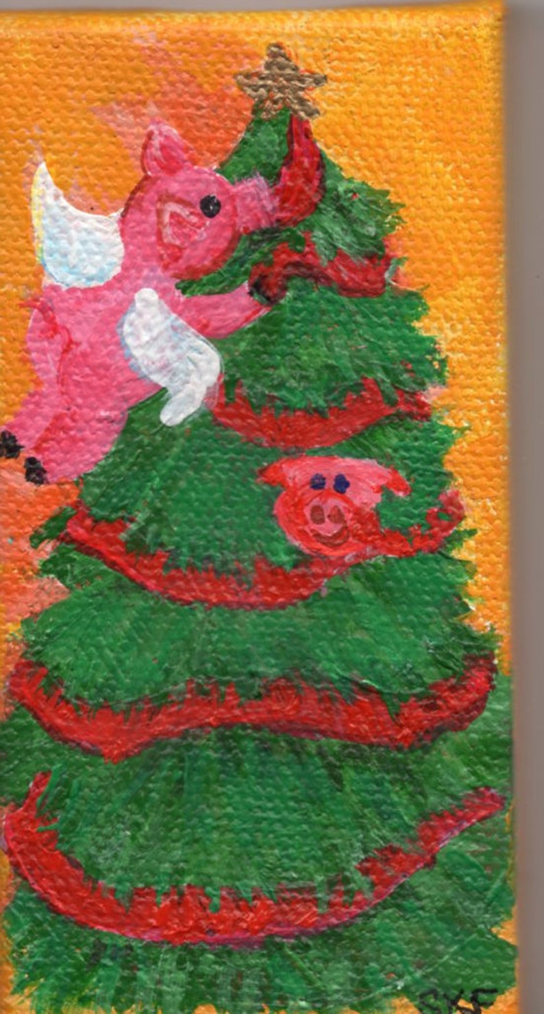 Christmas Flying Pig Painting tree decorating mini canvas image 0