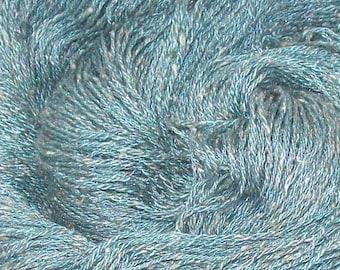 Silk, Flax, and Polyester Blend Yarn, Hand Plied - Dusty Teal - 3.3 oz - 94 g - 344 yds - 314 m
