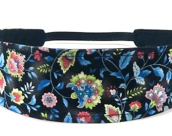 New!! Black Floral Headband - Reversible Fabric - Black, Blue, Green & Pink Mod Floral Print -  Headbands for Women - BLACK MOD FLORAL