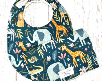 Baby Bib & Burp Cloth Set  -  Chenille Triple Layer Design - Set of 2 - Gender Neutral - Teal Green, Animals - SAFARI ANIMALS
