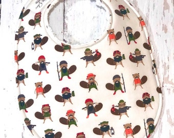 New!! Woodsman Beaver Baby Bib for Baby Boy - 1 Triple Layer Chenille - Red, Black, Gray, Green, Woodland - EARTHTONE BURLY BEAVER