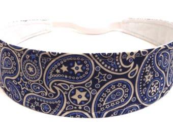 Bandana Headband Reversible Fabric  -  Blue & Cream Paisley Bandana  - Headbands for Women - PAISLEY BANDANA
