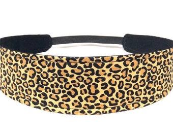 Girls Cheetah Headband, Child, Children's, Toddler Headband, Reversible Fabric, Gold, Brown, Black - BROWN CHEETAH