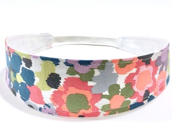 Watercolor Floral Headband for Women, Woman's Headband, Reversible Fabric Headband - Coral, Lavender, Lime, Gray - WATERCOLOR FLORAL