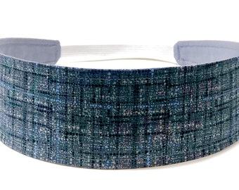 New!!  Charcoal Gray Grid Headband - Reversible Fabric Headband - Headbands for Women - Gray, Blue, White - GRAY COCO PLAID