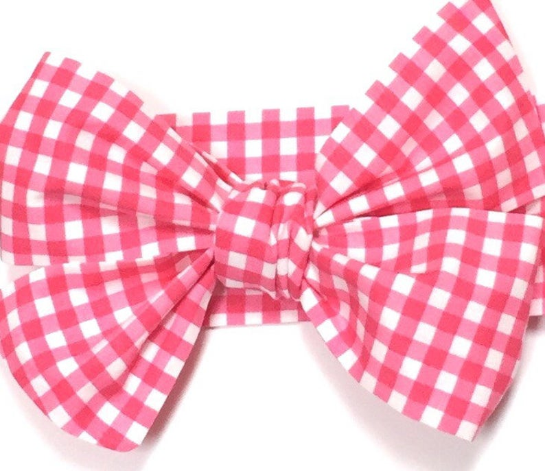 Pink Gingham Girls Headwrap Baby Girl Head Wrap Girls image 0
