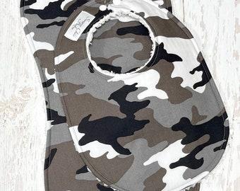 New!! Camo Baby Bib & Burp Cloth Set - Set of 2 - Chenille Triple Layer Design - Camouflage, Black, Gray - CAMO BABY