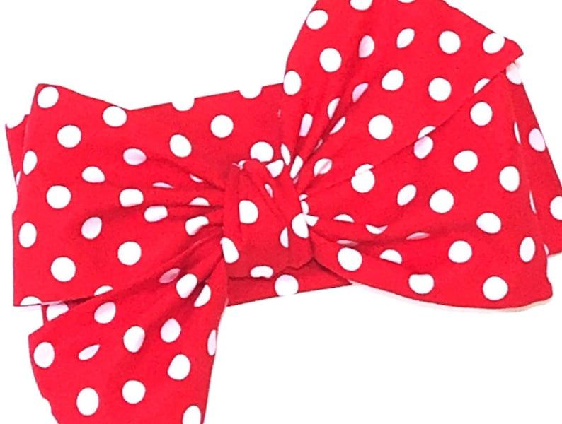 Red Polka Dot Head Wrap Girls Headwrap Baby Headwrap Girls image 0