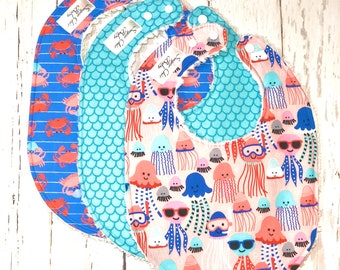 New!!   Baby Bibs for Baby Girl - Set of 3 Triple Layer Chenille - Pink, Periwinkle, Aqua, Jellyfish, Crabs, Mermaid Scales  - UNDER THE SEA