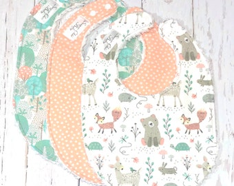 New!! Woodland Animals Baby Bibs for Baby Girl - Set of 3 Triple Layer Chenille - Mint, Peach, Coral, Grey - PASTEL WOODLAND ANIMALS