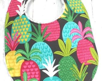 Pineapple Bib for Baby Girl - Single Bib - Triple Layer Chenille  - Pink, Aqua, Lime, Black - BRIGHT PINEAPPLES