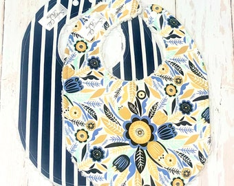 New!! Ready to Ship -Blue Floral Bibs for Girl - Set of 2 Triple Layer Chenille - Navy Blue, Mustard Yellow - NAVY FLORAL & STRIPE