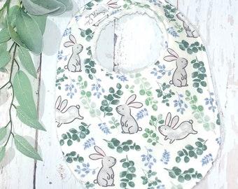 NEW!! Ready to Ship!  Easter Bib, Bunny, Rabbit Baby Bib - 1 Single Bib - Triple Layer Chenille - Sage Green, Gray, Blue - BOTANICAL BUNNIES