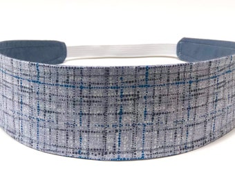 New!!  Pewter Gray Grid Headband - Reversible Fabric Headband - Headbands for Women - Light Gray, Blue, White - PEWTER COCO PLAID