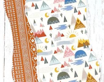 New!!  Mountain Adventure Baby Bib & Burp Cloth Set - Triple Layer Chenille - Gender Neutral - Rust, Cream, Blue - BOHO TRIBAL MOUNTAINS