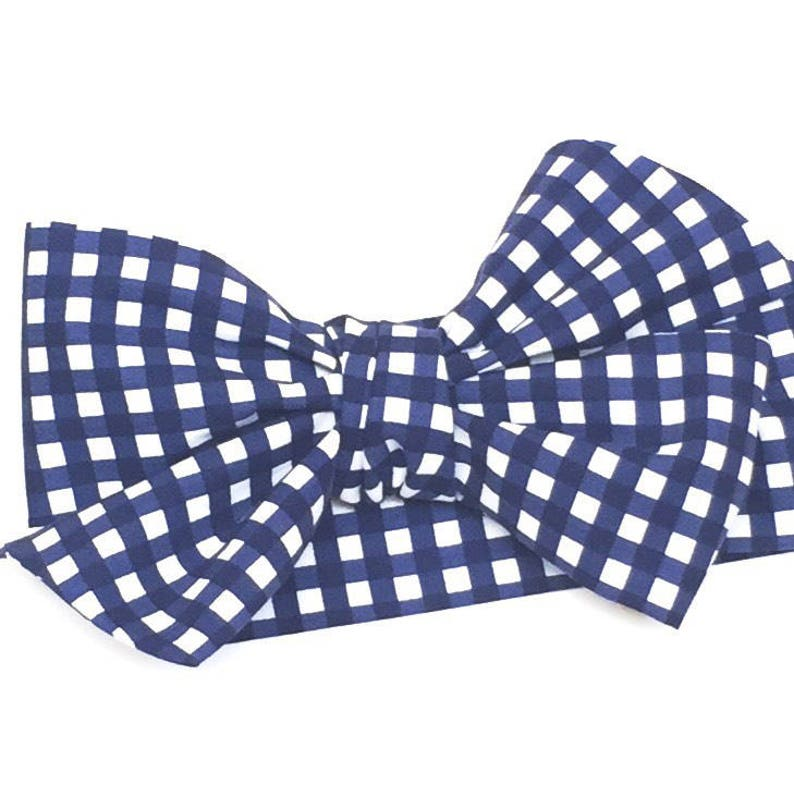 Navy Blue Gingham Headwrap Baby Girl Head Wrap Girls image 0