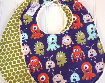 SALE  -  Bibs For Boy  - Set of 2 Triple Layer Chenille - Lil Monsters & Pea Green Dots