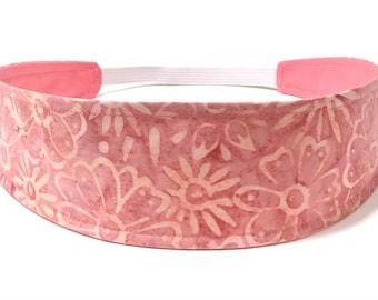 New!!  Batik Coral Floral Headband - Women's Headband - Reversible Fabric Headband - CORAL BATIK FLORAL