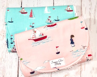 New!!  Ready to Ship!!  Burp Cloths for Baby Girl - Set of 2 - Triple Layer Chenille - Pink, Blue, Seaside, Lighthouse - BY THE SEASHORE