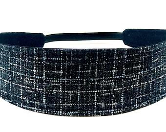 New!!  Black, Blue Grid Headband - Reversible  Fabric Headband - Headbands for Women - Black, Blue, White - BLACK COCO PLAID
