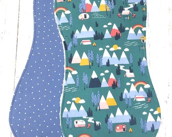 New!!  Ready to Ship!!  Burp Cloths for Baby - Set of 2 - Triple Layer Chenille - Blue, Green, Rainbow, Camping - OUTDOOR ADVENTURE