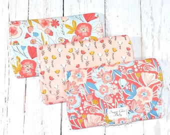 New!! Floral Burp Cloths for Baby Girl - Set of 3 Triple Layer Chenille - Coral, Cream, Blue - CORAL & BLUE FLORAL