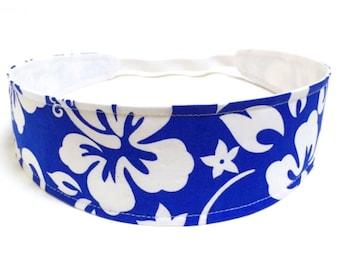 Women's headband - Reversible Fabric Headband - Blue Floral Headband - TROPICAL BLUE