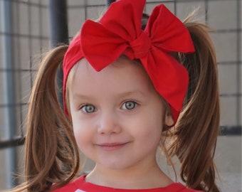 Red Headwrap, Girls Headwrap, Baby Girl Headwrap, Head Wrap, Girls Headband, Big Bow Headwrap, 4th of July - SOLID RED