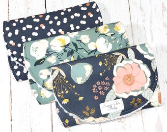 Floral Burp Cloths for Baby Girl - Set of 3 Chenille Triple Layer -  Navy, Pink, Sage, Mustard, Metallic Rose Gold - FUSION PEONY BLOOMS