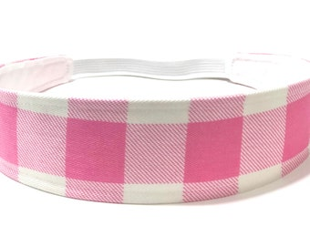 Ready to Ship!! Girls Pink Gingham Headband, Child Headband, Children's Reversible Headband - Pink, White gingham - PINK GINGHAM CHECKS