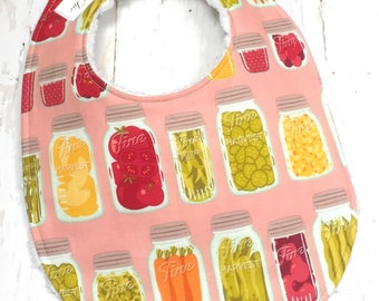 SALE!!  Canning Jars Bib for Baby Girl - Single Bib - Triple Layer Chenille - pink, fruit, veggies - CANNING JARS