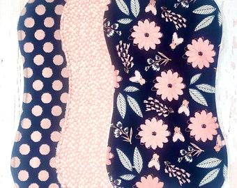 New!! Modern Baby Girl Burp Cloths - Set of 3 Chenille Triple Layer - Metallic Rose Gold, Navy, Pink - BLUSH & NAVY FLORAL