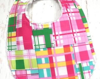SALE!!  Bright Plaid Baby Bib for Baby Girl - Single Bib - Triple Layer Chenille - Pink, lime, yellow - MADRAS PLAID