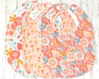New!! Floral Girl Baby Bibs, Bibs for Baby Girl - Set of 3 Triple Layer Chenille - Coral, Cream, Blue - CORAL & BLUE FLORAL
