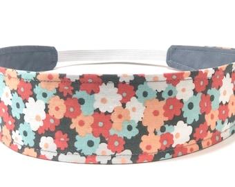 New!!  Ditsy Floral Headband for Women, Woman's Headband, Reversible Fabric Headband - Coral, Aqua, White, Gray - GRAY DITSY FLORAL