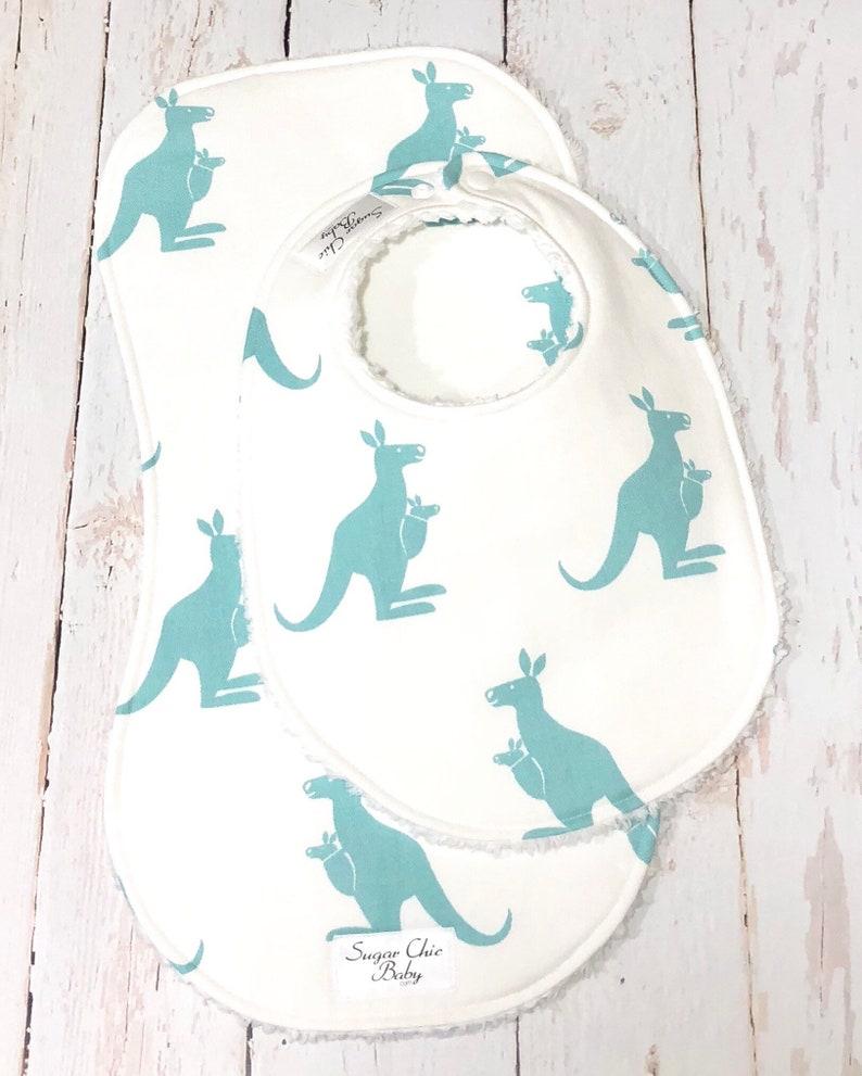Kangaroo Baby Bib & Burp Cloth Set  Chenille Triple Layer image 0