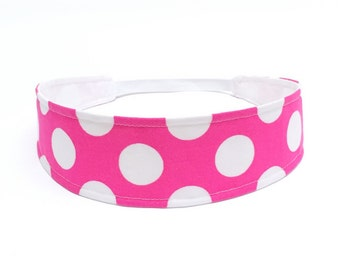 Headband Girls Childs Childrens  - pink & white polka dots - Reversible Fabric Headband - HOT PINK DOTS
