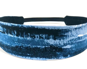 New!!  Navy Blue Mod Headband for Women, Adult Headband, Womens Headband - Navy Blue, Light Blue & White - BLUE WATERCOLOR STRIPE
