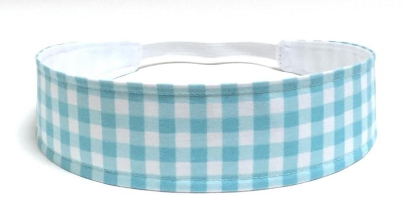 Girls Gingham Headband Child Headband Children/'s Reversible Headband Aqua white gingham -AQUA BLUE GINGHAM