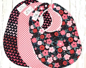 New!!  Floral Hearts Baby Bibs for Girls - Set of 3 Triple Layer Chenille - Pink, Black, Red - OMBRE FLORAL HEARTS