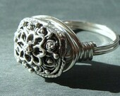 Victorian Look Rectangle Sterling Silver Ring Wire Wrapped in Sterling Silver