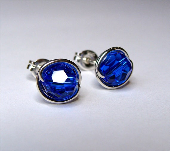 0600ae16b7419 Majestic Blue Crystal Studs Cobalt Blue 4mm 6mm or 8mm Majestic Blue  Swarovski Crystal Post Earrings in Sterling Silver Stud Earrings Studs