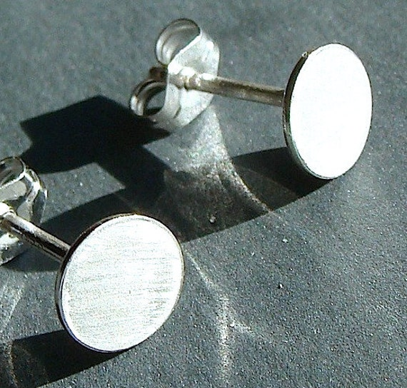 Flat Disc Studs 7mm Tiny Round Flat Disc Post Earrings Etsy