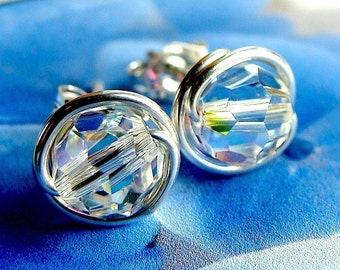 AB Crystal Studs AB Swarovski Crystal Post Earrings 6mm 5mm or 4mm Wire Wrapped in Sterling Silver Stud Earrings Studs