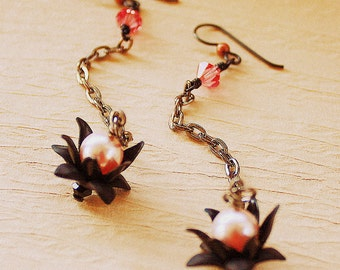 Lotus Earrings - Long Chain - Rustic Dangle Earrings - Black and Pink - Crystals and Faux Pearls