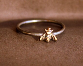 Bee Ring - Brass Charm - Sterling Silver Band