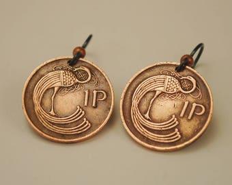 Ireland Coin Jewelry Earrings 1980