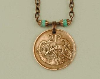 Ireland Coin Necklace 1971 Stylized Bird