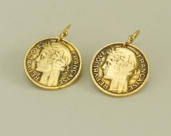 France Coin Earrings 1939